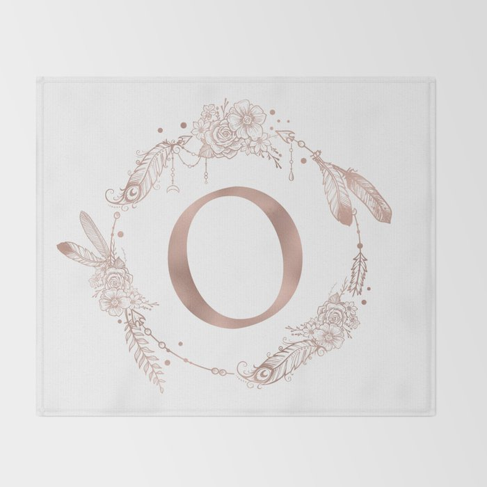 letter o rose gold pink initial monogram throw blanket by