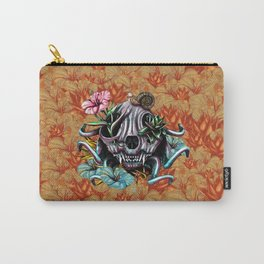 The Skull the Flowers and the Snail CoLoR Carry-All Pouch