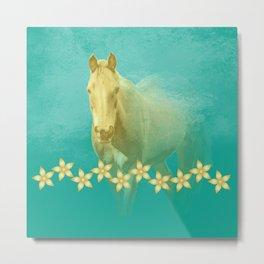 Golden ghost horse on teal Metal Print