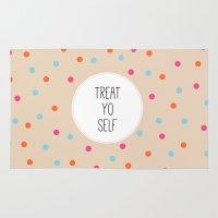 treat yo self Area & Throw Rugs featuring Treat Yo Self II by Galaxy Eyes