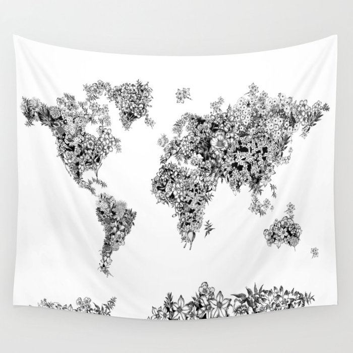 Floral world map black and white wall tapestry by bekimart society6 floral world map black and white wall tapestry gumiabroncs Gallery