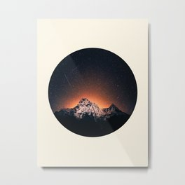 Glowing Star Sky Behind Snow Mountain Round Photo Vintage Metal Print