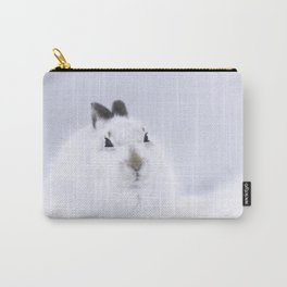 White mountain hare on white snow Carry-All Pouch