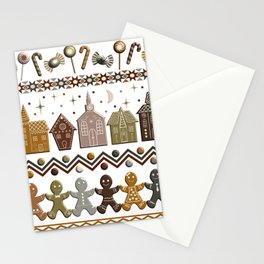 Gingerbread Row Dance in Snow White Stationery Cards