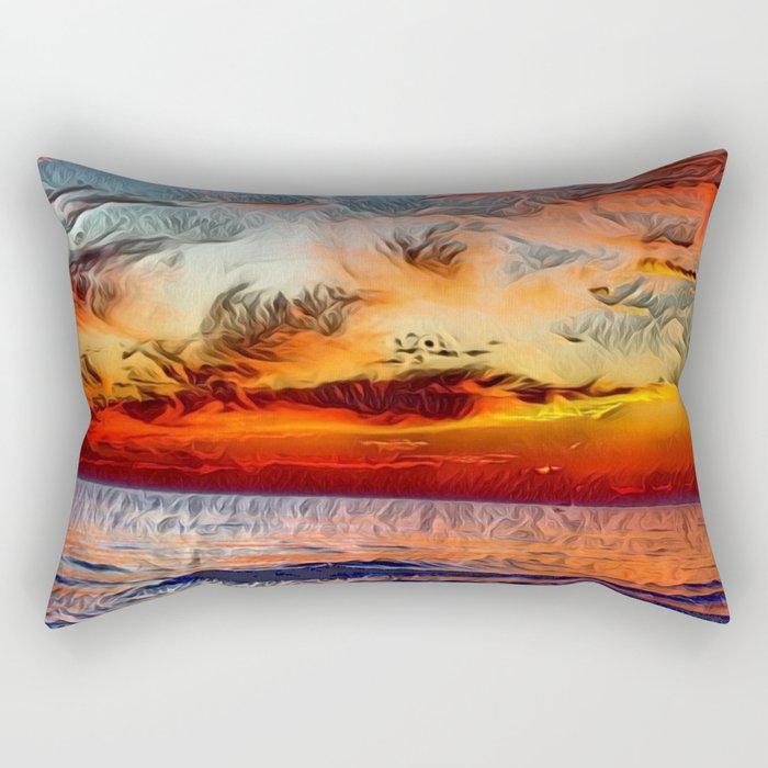 Great Lake Michigan Romantic Sunset (Painting) Rectangular Pillow