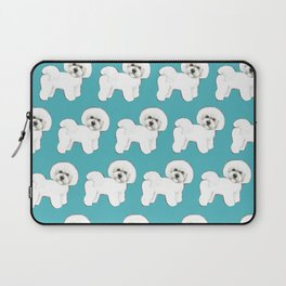 Bichon Frise Dog on blue Laptop Sleeve
