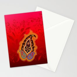 red jewel paisley border Stationery Cards