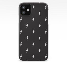 Lightning Bolt Pattern Black & White iPhone Case
