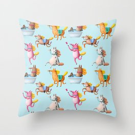Cute and Whimsical Horse Pattern on Light Blue Throw Pillow
