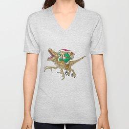 Christmas Elf Riding a Velociraptor Unisex V-Neck