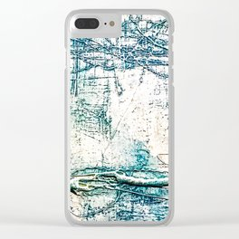 Subtle Blue Textured Acrylic Painting Clear iPhone Case