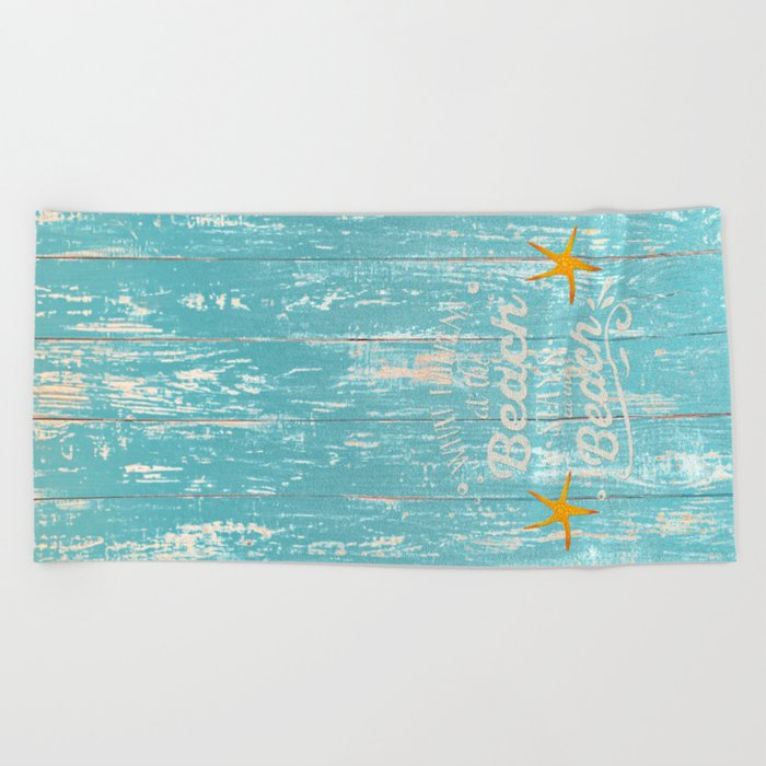 Happy Beach Life- Saying on aqua wood on #Society6 Beach Towel