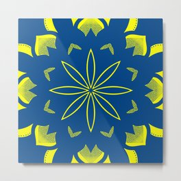 Maize & Blue Floral Mandala Metal Print