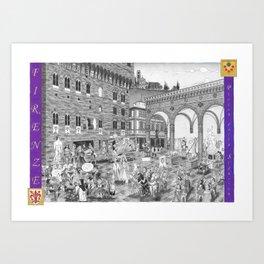 FIRENZE _ PIAZZA DELLA SIGNORIA Black and White Art Print