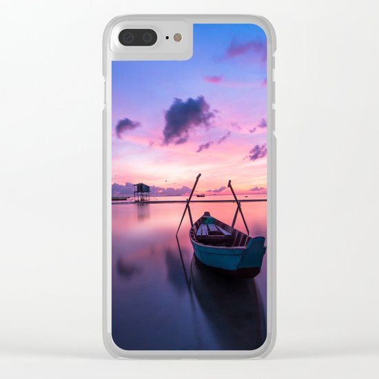 Boat and Sunrise Clear iPhone Case