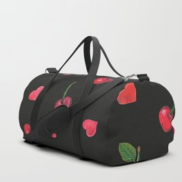 Watercolor cherries and red hearts beautiful summer pattern black background Duffle Bag