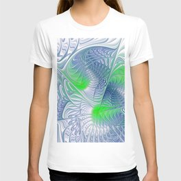 blue and green fractalart T-shirt