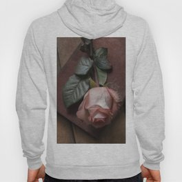Pink rose and red old book Hoody