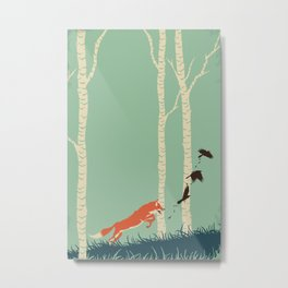 Fox Chasing Birds Metal Print