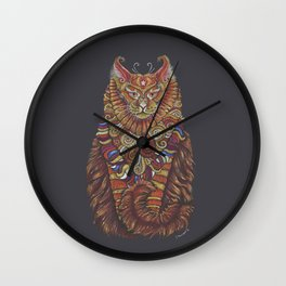 Maine Coon Cat Totem Wall Clock