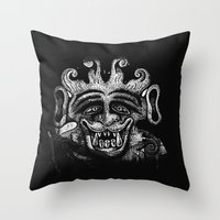 mythology Throw Pillows featuring Shadow Beast Mythology by Anya Campbell by BohemianBound
