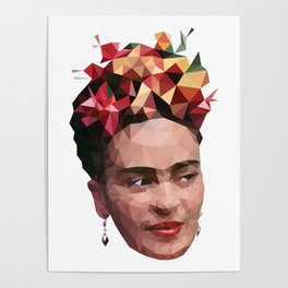 Frida in low poly Poster
