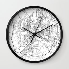 Minimal City Maps - Map Of Rome, Italy. Wall Clock