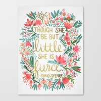 watercolor Canvas Prints featuring Little & Fierce by Cat Coquillette