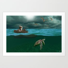 Cat on the Ocean Art Print