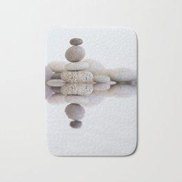 Stone Balance pebble cairn and water Bath Mat