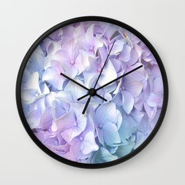 Soft Pastel Hydrangea Wall Clock