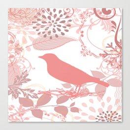 Vintage Look Pink Bird. Canvas Print