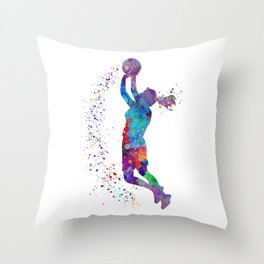 Girl Basketball Watercolor Art Print Sports Poster Nursery Home Decor Kids Room Sports Painting Gift Throw Pillow