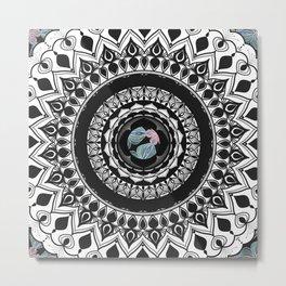 Mandala with Floral Watercolor Pattern Metal Print