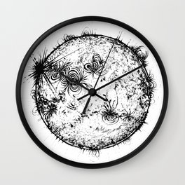 Large Sun Print, white & black solar design by Little Lark Wall Clock