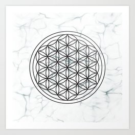 White Marble Flower of Life + Donation to CA Wildfire Relief Art Print