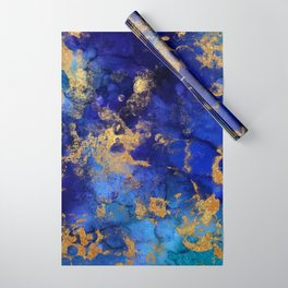 Gold And Blue Indigo Malachite Marble Wrapping Paper