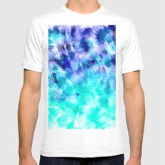 modern boho blue turquoise watercolor mermaid tie dye pattern Mens Fitted Tee White MEDIUM
