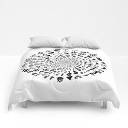 Love Symbol Mandala Black on White Comforters