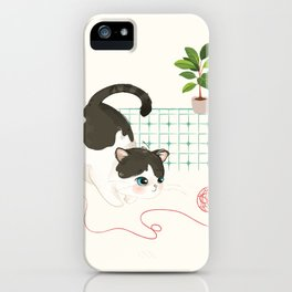 A Cat's Day - Red Yarn iPhone Case