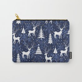Blue Woodland Christmas Deer Carry-All Pouch