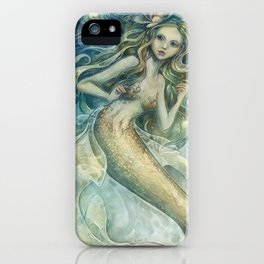 mermaid with Flowers in her hair iPhone Case