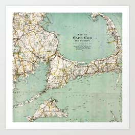 Cap Cod and Vicinity Map Art Print