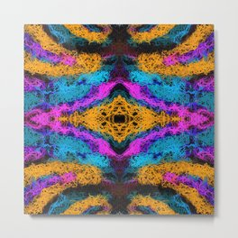 indian psychedelic graffiti drawing abstract in pink orange blue Metal Print