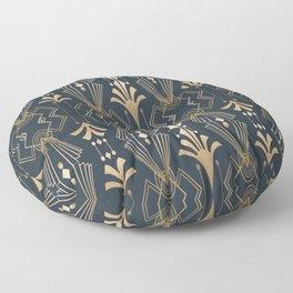 Elegant Art Deco Retro Design Gold And Teal Green Floor Pillow