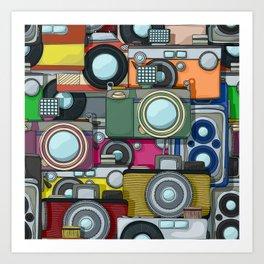 Vintage camera pattern Art Print