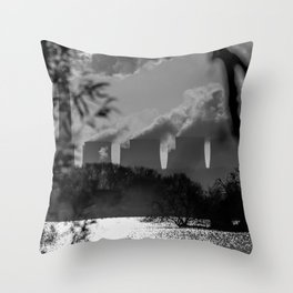 Power plants over a lake Throw Pillow
