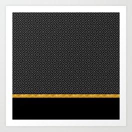 Chic Black Gray Greek Key Gold Border Art Print