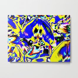 Psychedelic Wisteria Blue Yellow Metal Print