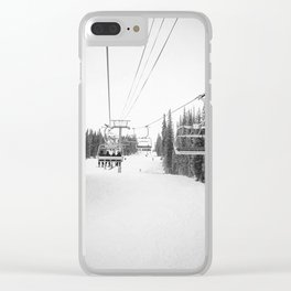 Ski Chair Lift B&W \\ Deep Snow Season Pass Dreams \\ Snowy Winter Mountains Landscape Photography Clear iPhone Case